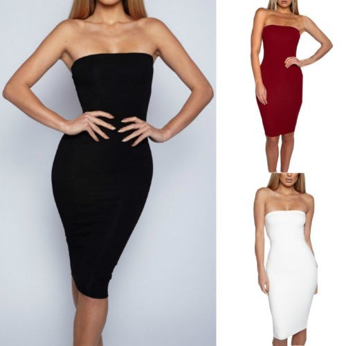 Hot Sale  Exquisite Soild blouson Women Bodycon Sleeveless Evening Party Club Wear Stretch Skirt Solid Strapless 2