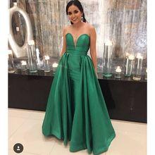 9ad86deb93 Oscuro verde vestidos de baile para las mujeres 2019 largo sirena vestido  de fiesta vestido apliques