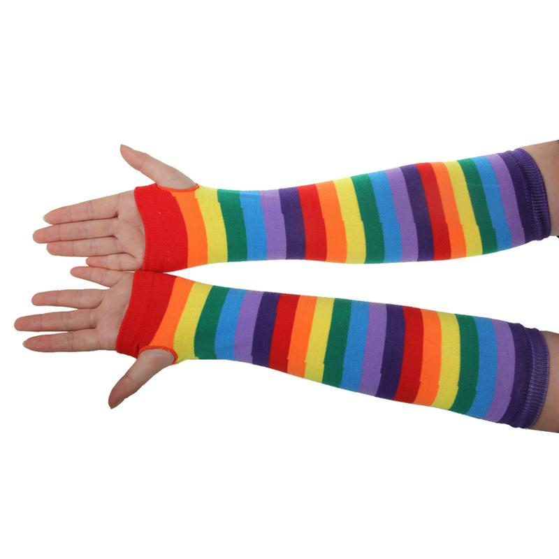 8578d1d3d0ddc Pair * Rainbow Strips Arm Warmer Colorful Fingerless Gloves Sleeve for Women  Girls Pair * Rainbow Strips Leg Stocking Colorful Thigh High Socks for Women  ...