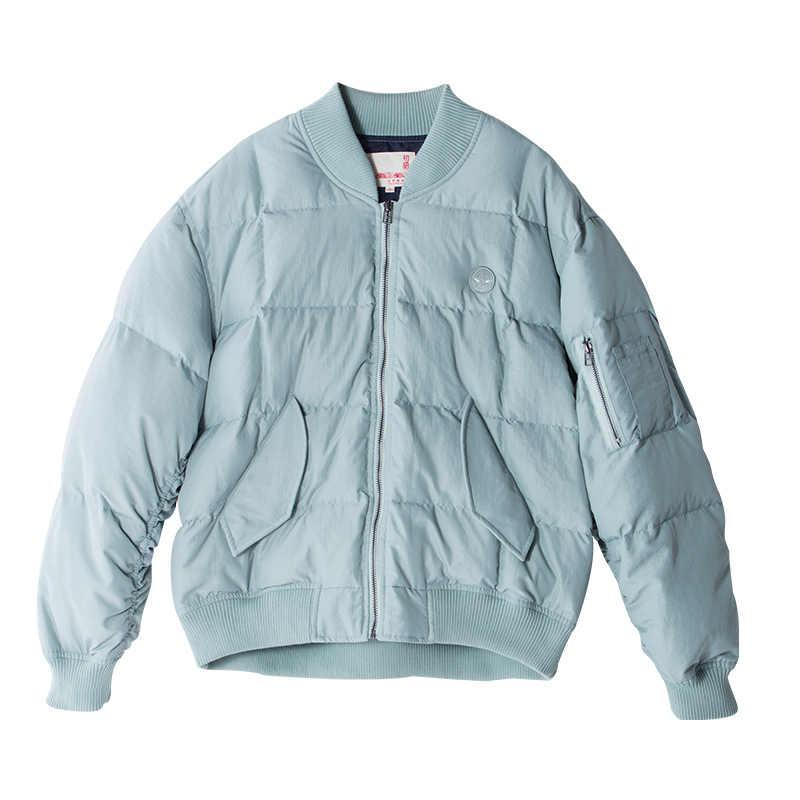 Toyouth Пуховые пальто 2017 Зима Для женщин Вышивка BF Стиль яркий Цвет утолщение Свободные стенд Куртка с воротником Верхняя одежда