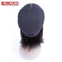 ALLRUN Cheveux 130% Avant de Lacet Perruques de Cheveux Humains Mongol Non Remy Droite Couleur Naturelle Pré Pincées Court Bob Perruques