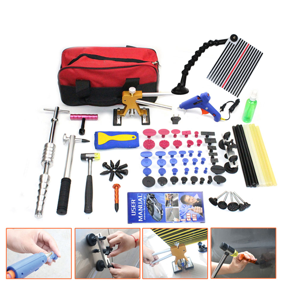 Pieno Paintless Dent Repair Lifter Puller PDR RE Linea di Strumenti di Bordo Hail Removal Kit