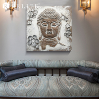 Buddha Face Pictures Square Oil Paintings on the Wall Home Decor for Living Room
