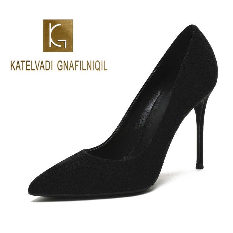 KATELVADI Women Pumps Black Shoes 10CM Heel Woman Shoes High Heels Pumps Sexy Ladies Shoes Pointed Toe Summer Heels K-359