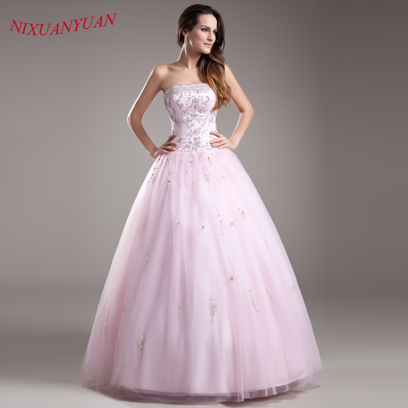 NIXUANYUAN New Beaded Sweet 16   Dress   Embroidery   Prom     Dress   2019 Crystal Party   Dress   Pink Tulle Ball Gown Long vestidos de baile