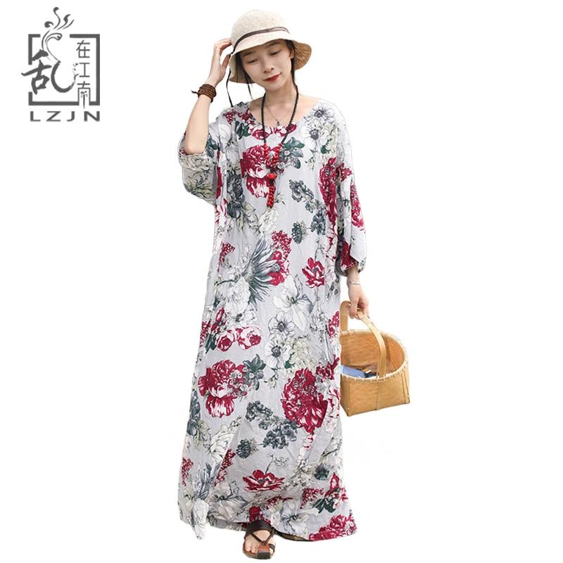 LZJN Maxi Floral Dress Plus Size 2018 Summer Women Beach Tunic Dresses Half Bet Sleeve Loose Robe Femme Back Slit Thin Kaftan