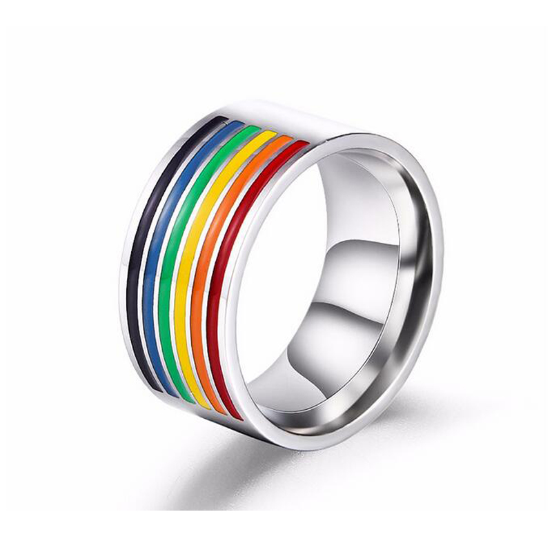 caxybb beautiful wedding rings rainbow stainless steel six color rainbow ring for women men gift - Beautiful Wedding Ring
