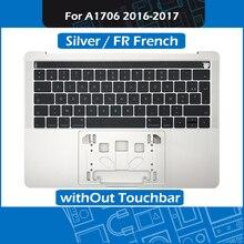 Серебряный Топ чехол + клавиатура с французской раскладкой для MacBook Pro retina 13 «Touch Bar A1706 удобный Упор для рук Замена 2016 2017