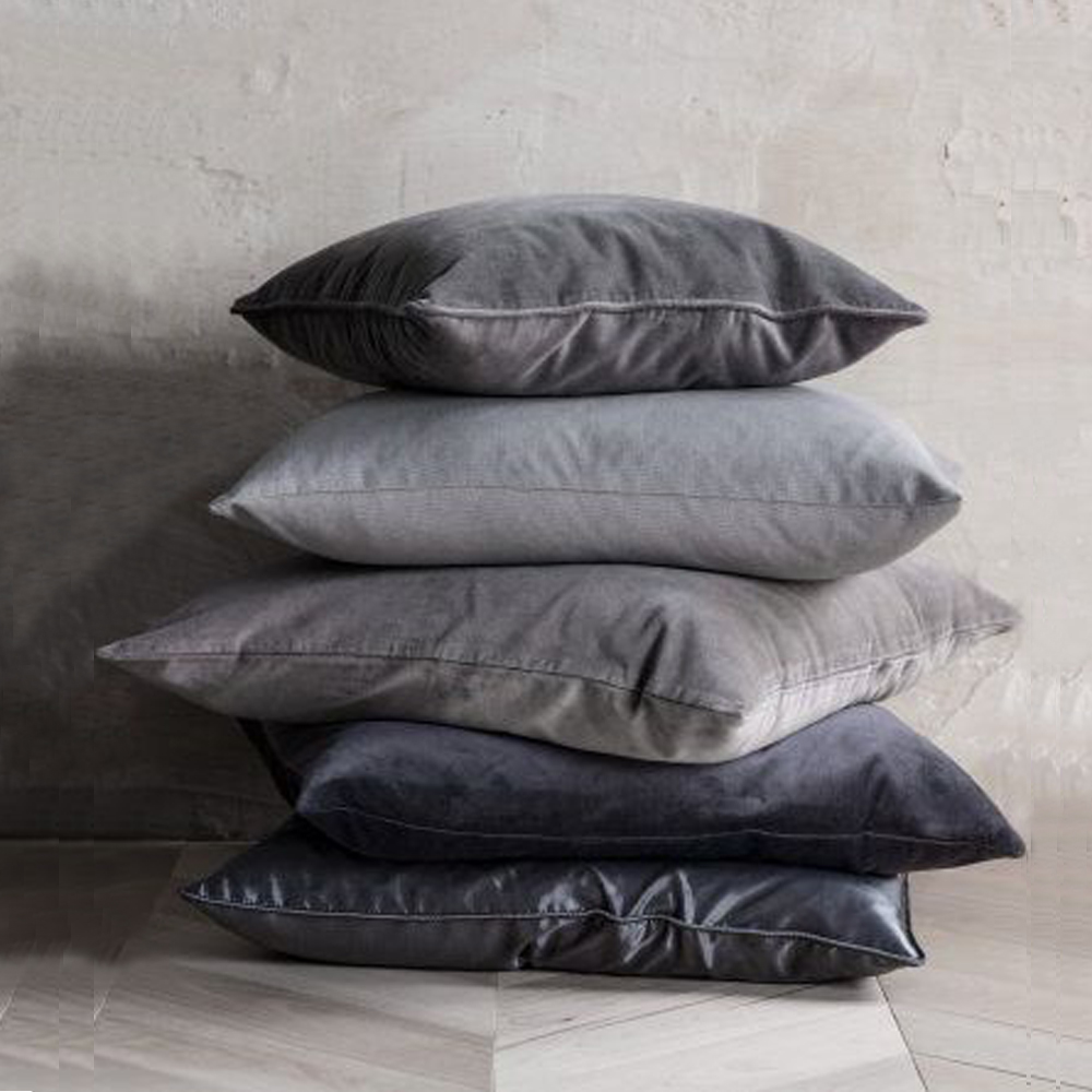 ESSIE HOME Luxury Black Grey White Silver Velvet Cushion Cover Pillow Case Lumber Pillow Case