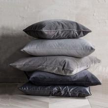 ESSIE HOME Luxury Black Grey  Velvet Cushion Cover Pillow Case Lumber