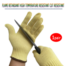 Anti-cutting Working Gloves High Temperature 1 Pair White Aramid Fire Prevention Cut Prevention Labor and Garden Safety Gloves
