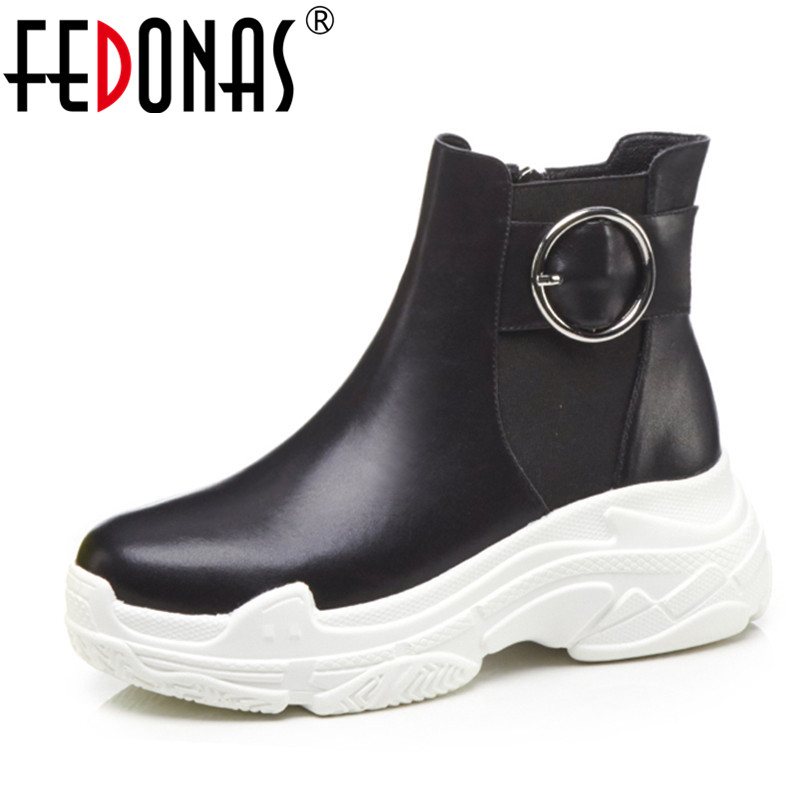 FEDONAS Fashion Punk Women Ankle Boots Cow Leather Platforms Party Dancing Shoes Woman Wedges Heels Short Martin Basic Boots
