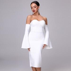 Image 2 - 2020 New Autumn Women Bandage Dress Elegant White Black Dress Sexy Flare Sleeve Midi Celebrity Party Christmas Dress Vestidos