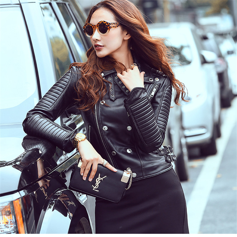 distinctive design official price delicate colors US $165.66 15% OFF|2017 fashion genuine leather jacket women black  sheepskin women's slim fit motorcycle leather jacket lady's real leather  coat-in ...