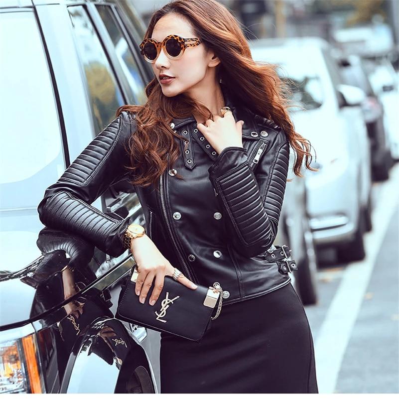 New Womens Leather Jacket Genuine Lambskin Real Biker Moto Black Slim Fit Coat