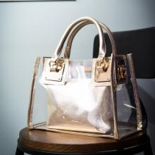 Fashion Women Summer Transparent Waterproof Beach Bag Candy Color Clear Handbag Tote Shoulder Bags Composite
