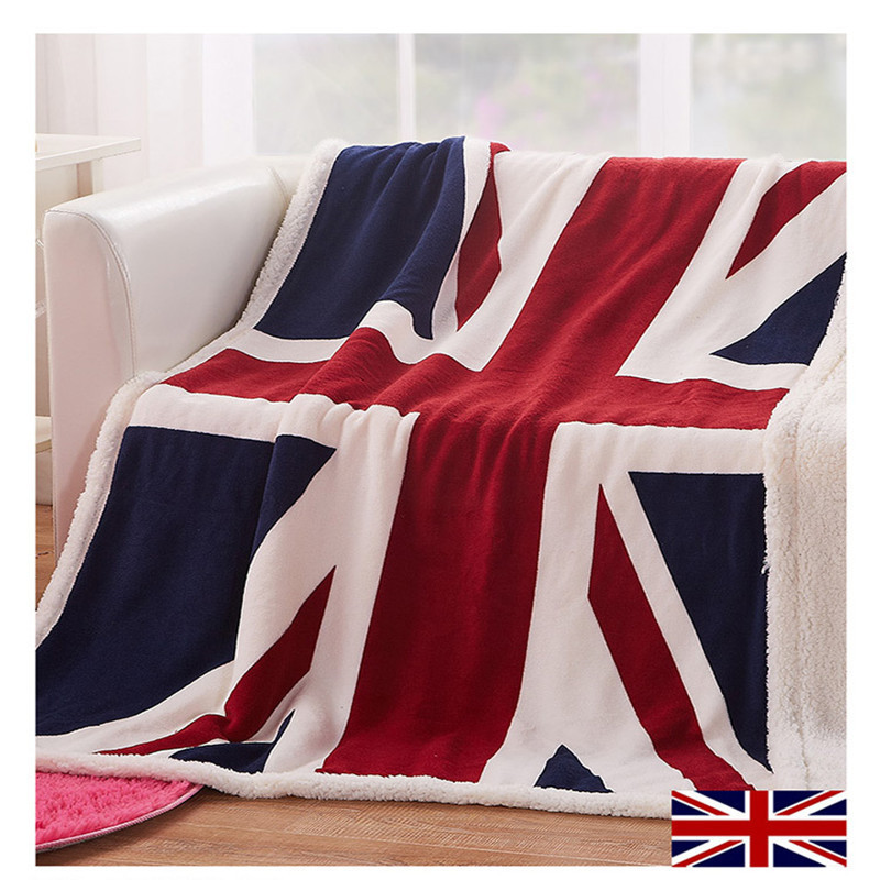 Home textile coral fleece Blanket Union Jack fish flannel blandets double layer throw on Sofa/Bed/PlaneTravel Plaids Bedspread zhh warm soft fleece strip blankets double layer thick plush throw on sofa bed plane plaids solid bedspreads home textile 1pc