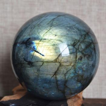 TOP!! 80mm NATURAL Labradorite Crystal sphere ball Orb Gem Stone miner