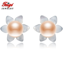 FEIGE 6-7mm Natural Pink Pearls 925 Sterling Silver Stud Earrings For Womens Exclusive Design Shell Carvings Fine Jewelry