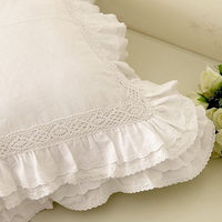 New Embroidered With Ruffle Lace Satin Cotton Cushion Cover Set Pillow Pillow