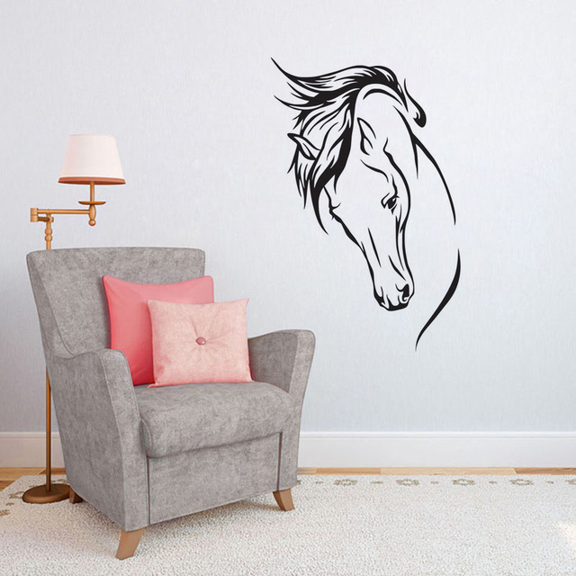 Kids Room Wall Decal Head Of Horse Vinyl Wall Sticker Creative Stencil,  Animal Wall Art
