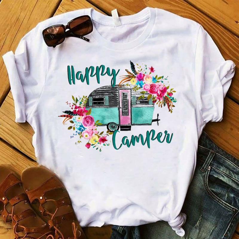 Fashion Women T Womens Happy Camper Floral Flower Road Trip Graphic Tee Shirt Femme Top Tshirt Female Ladies Clothes T-shirt
