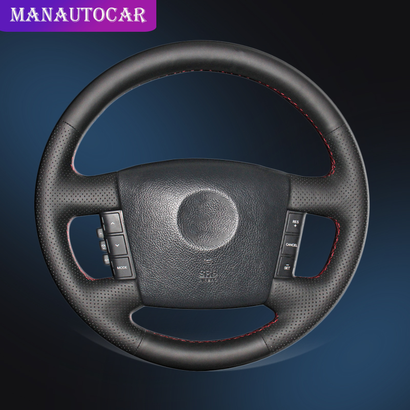 Car Braid On The Steering Wheel Cover for Kia Borrego 2008 2015 Auto Steering Wheel Covers Car styling Interior Accessories in Steering Covers from Automobiles Motorcycles