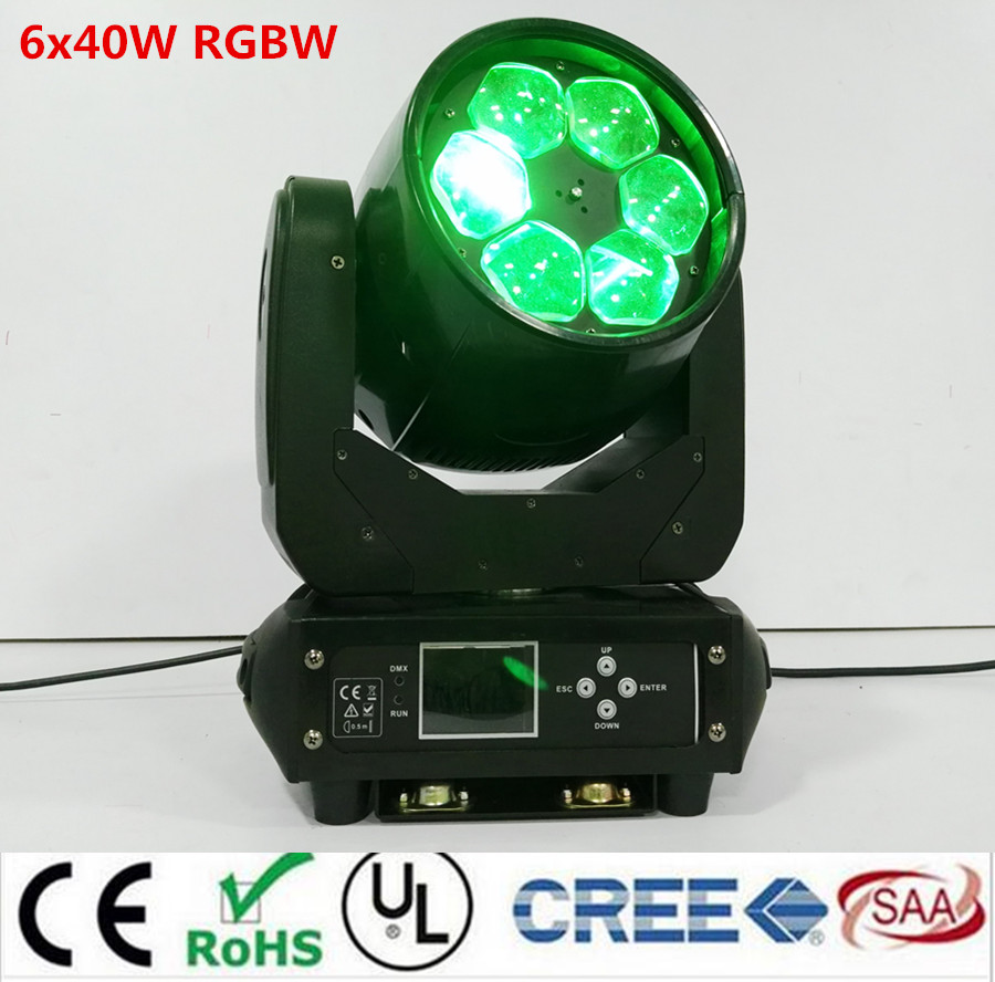 LED RGBW 6x40W 4in1 LED bee eye ZOOM moving head beam light for Bar effect led stage lighting dmx dj lights 6 frames reversible honey extractor for bee keeping