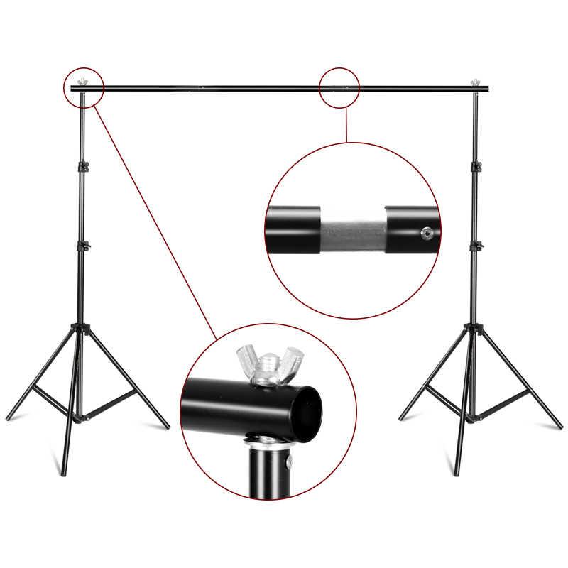 خلفية حامل دعم نظام التصوير الفوتوغرافي حامل خلفية الاستوديو مع حقيبة حمل للخلفيات موسلينز والورق والقماش