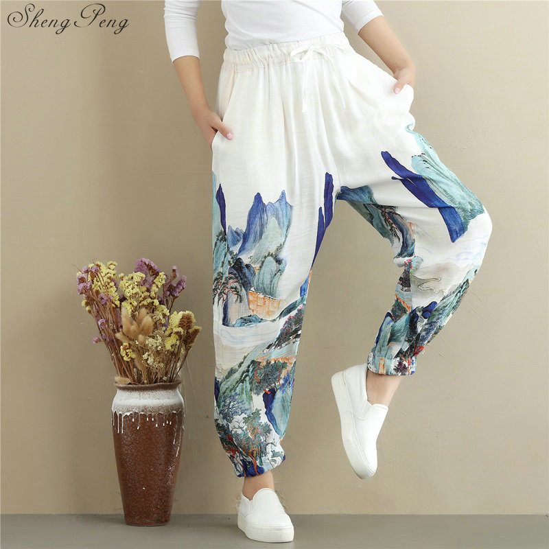 Traditional chinese pants kung fu pants Linen pants women linen clothes for women elastic waist comfortably solid wide leg V932-in Bottoms from Novelty & Special Use    1