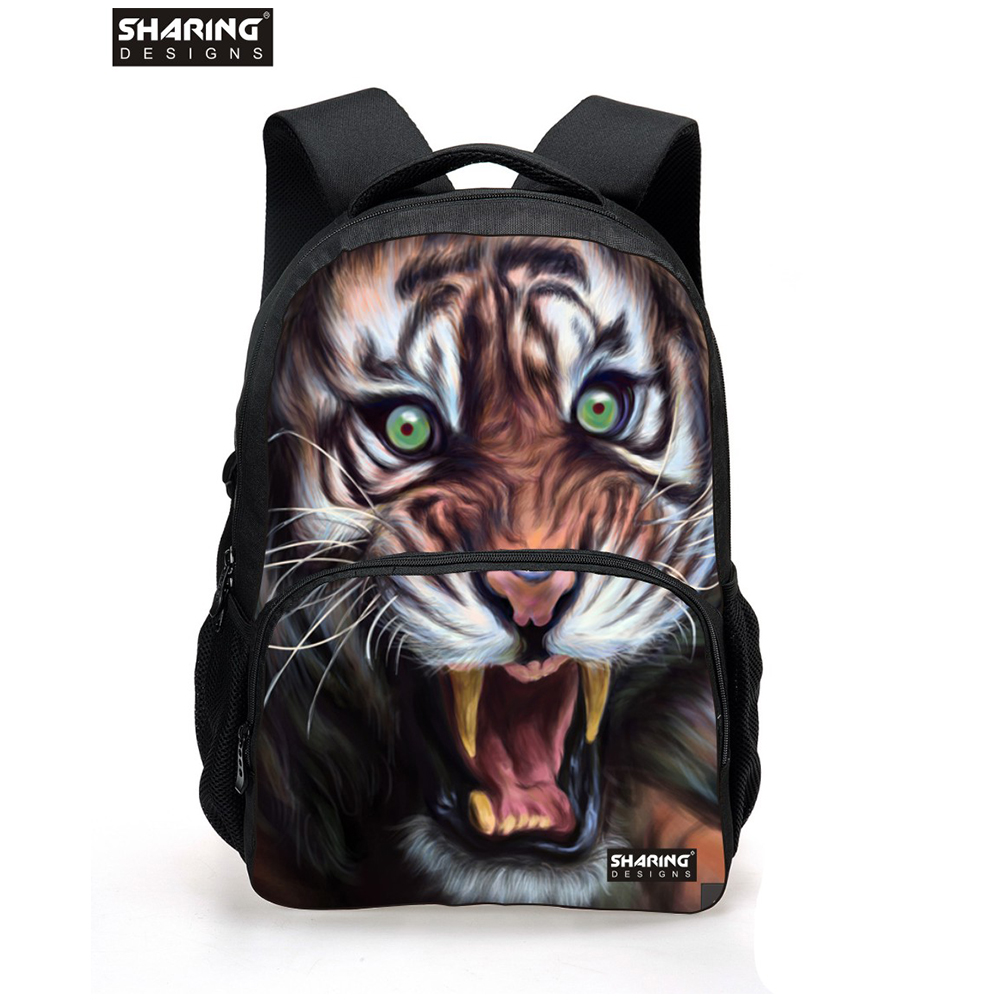 Cool 3D Animal White Tiger Head Backpack for Men Unique Youth Backbag Children Teenager Boys Tourism Backpack Cool Tiger Face outdoor loose fit straight leg multi pocket solid color zipper fly cargo pants for men