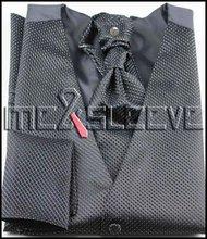 hot sale Men's Dress black Vest & ascot Tie Set for Suit or Tuxedo