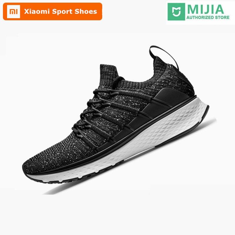 Original Xiao mi mi jia hommes Smart Sports de plein air chaussures de course système de verrouillage en os de poisson élastique tricot Vamp mâle mi baskets