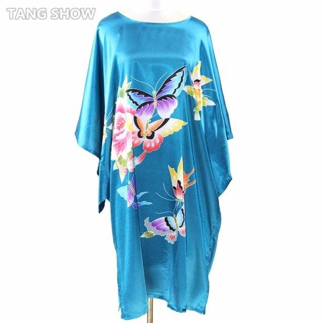 Горячая распродажа синий китайский стиль шелковый район одеяние платье летом свободно пижамы дамы ночной рубашке кафтан ванна платье один размер