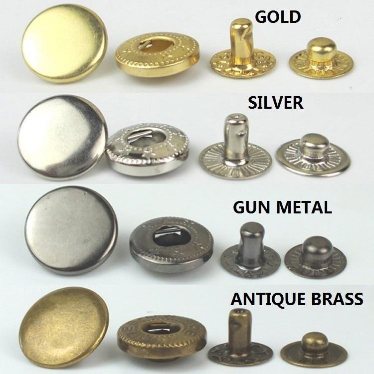 200 bricolage livraison gratuite 15mm 831 bouton pression en métal fermeture à ressort boutons pression bouton popper sur couture rivet tissu