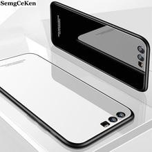 SemgCeKen luxury original hard glass mirror case for huawei p10 plus p10plus silicone tpu back coque phone protective cover etui