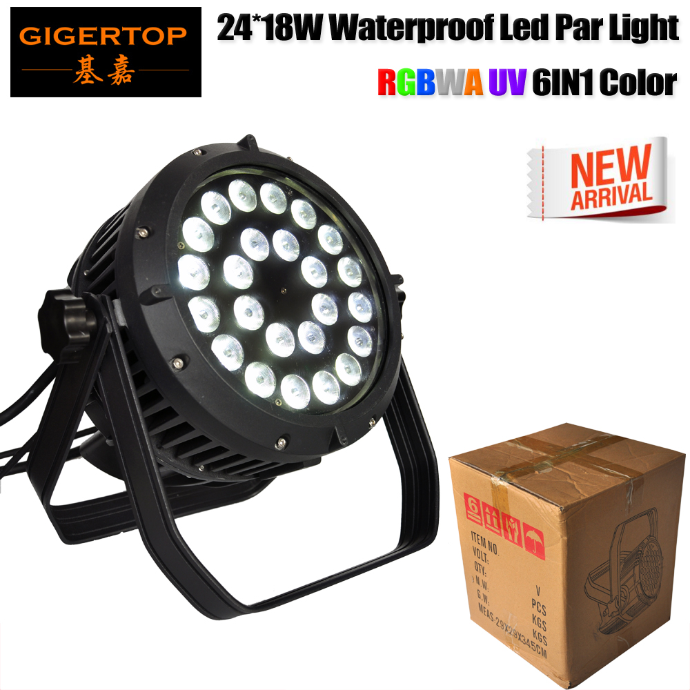 Gigertop TP-P114 300W High Power 24 18W RGBWA UV 6IN1 IP65 Stage Led Par Light Power/DMX Cable Hand by Hand Connect 6/10 Channel flight case packing 12 18w rgbwa sharpy outdoor led par cans die casting aluminum glass cover big housing 1m power dmx cable