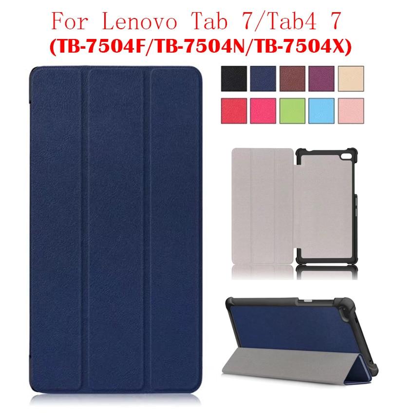 Tab7 Tab 7 TB-7504 PU Leather Case Cover 7'' Tablet PC Skin for Lenovo Tab4 7 TB-7504F TB-7504N TB-7504X Protective Stand Fundas планшет tab4 tb 7504x 7 16gb black lte za380040ru lenovo