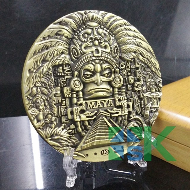 Wholesale DHL Shipping 100pcs/lot Maya Calendar Bronze Coin Souvenir Manyan Aztec Badge Gift New Maya Big Medal 80*10MM
