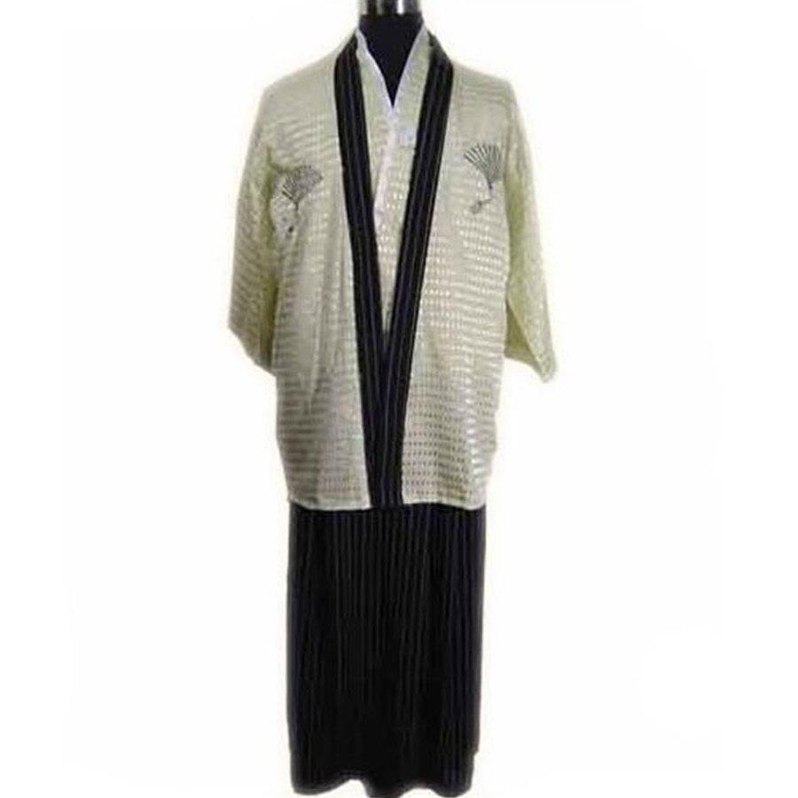 ▽Beige primavera nueva vintage Hombre japonés Warrior kimono yukata ...