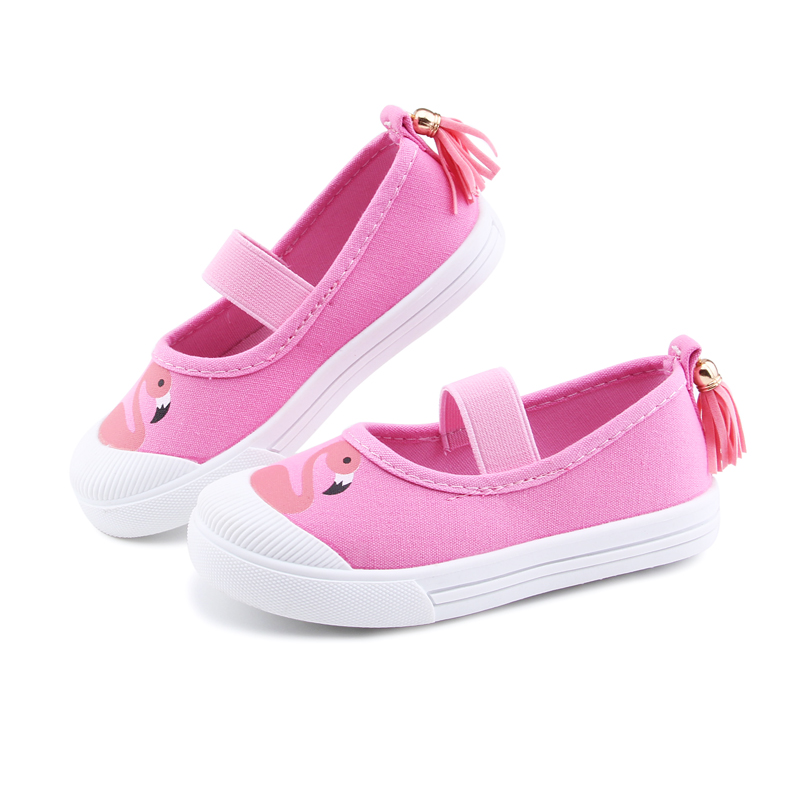 Baby Boy Girl Shoes Fashion Cartoon Print Kids Sneakers Children Canvas Casual Shoes For Boys Girls With Pendent Shoes