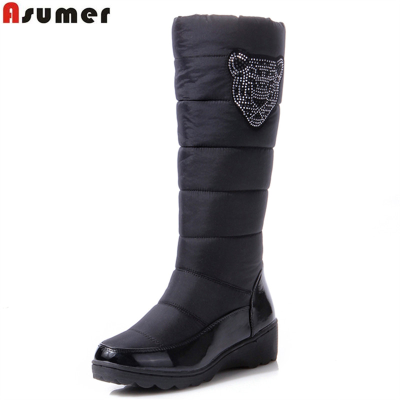 ASUMER 2018 Cotton fashion waterproof snow boots women's knee high boots flat winter boots platform fur shoes women size 34-44 winter warm snow boots cotton shoes flat heels knee high boots women boots wholesale high quality