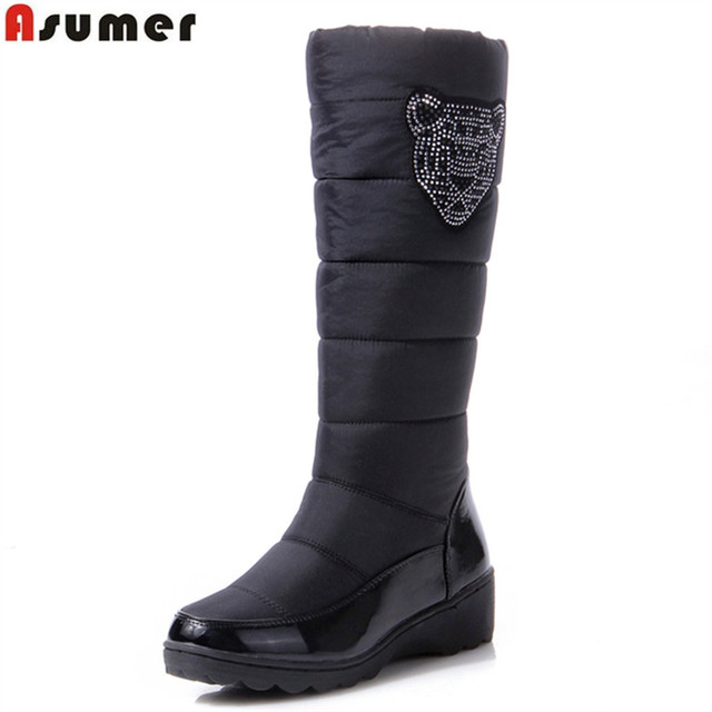 ASUMER 2018 Cotton fashion waterproof snow boots womens knee high boots  flat winter boots platform fur