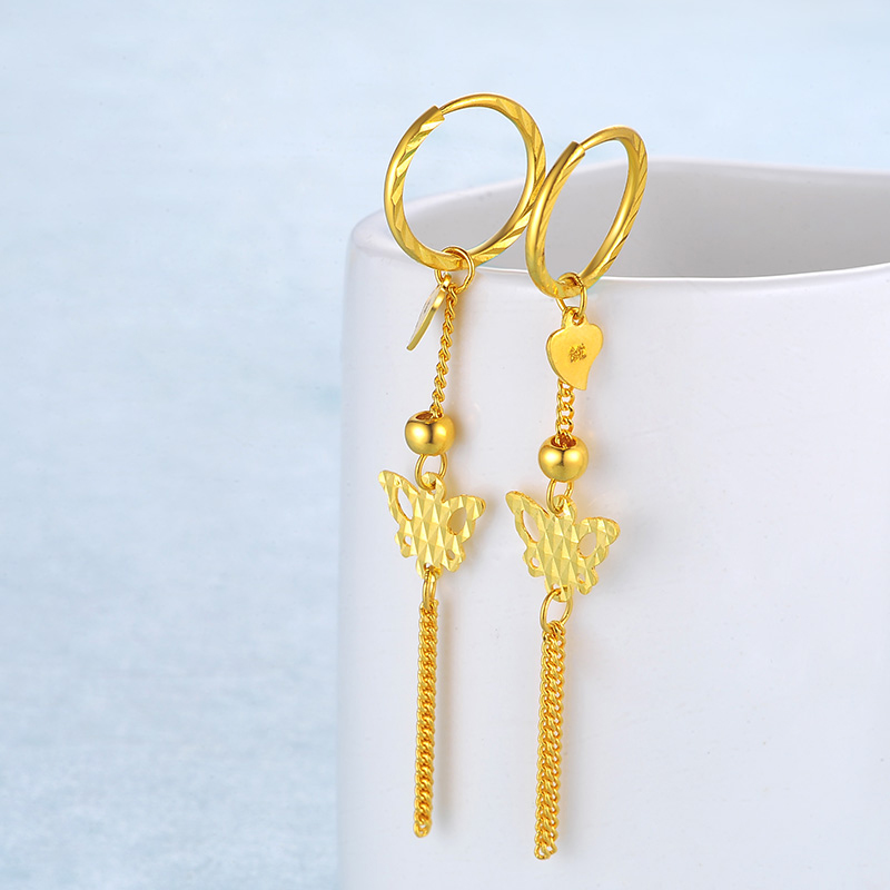 YSF 24K Pure Gold Earring Real AU 999 Solid Gold Earrings Nice Butterfly Tassel Upscale Classic Fine Jewelry Hot Sell New 2019