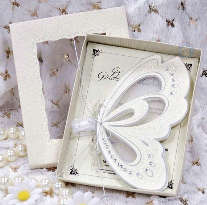 White Elegant Butterfly Wedding Invitations Scroll Blank Card with – Elegant Butterfly Wedding Invitations