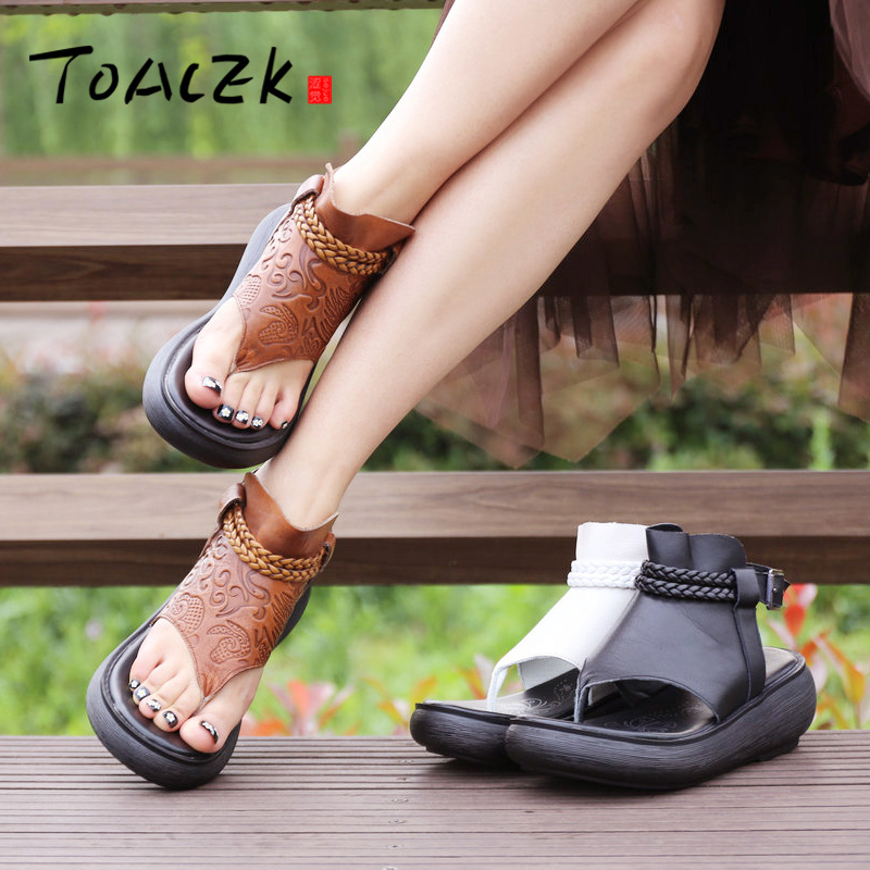 Summer ladies sandals slope heel thick bottom shoes leather casual shoes female personality toe Roman boots