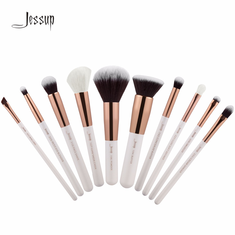 2017 Jessup 10pcs Brushes Professional Makeup Brushes Set Makeup Brush Tools kit Foundation Powder Buffer Cheek