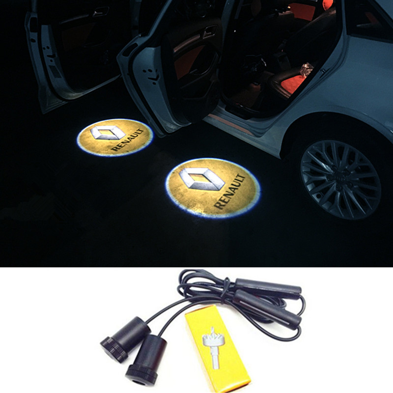 2X <font><b>LED</b></font> Door <font><b>Logo</b></font> Projector Lights For <font><b>Renault</b></font> Euro Clio Duster Fluence Kangoo Express Koleos Laguna Logan Megane Safrane Sandero image