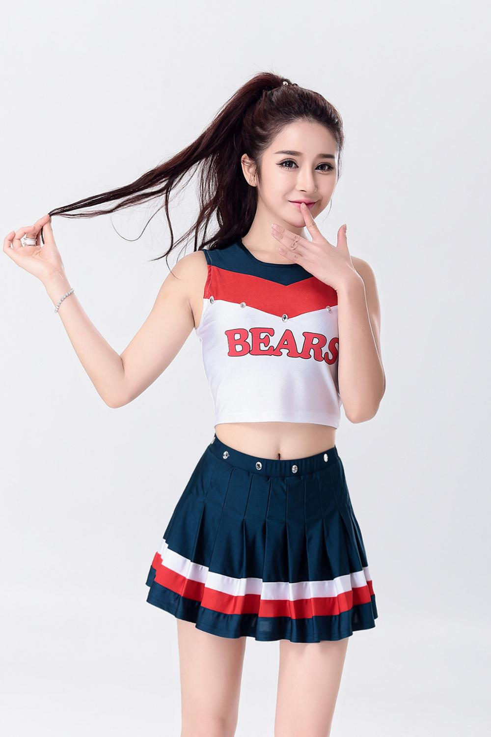 Korean High School Cheerleader Costume Cheer Girls Uniform Sports Outfit Girl 10 Korea Japan Style Sport Cheerleading Varsity Top With Skirt