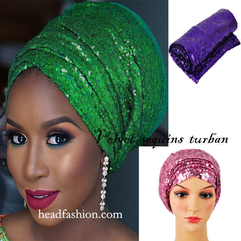 Free shippin!Beauty African sequnis turban 13colors African turban gele Solid scraf women ladies headwrap for party or wedding.